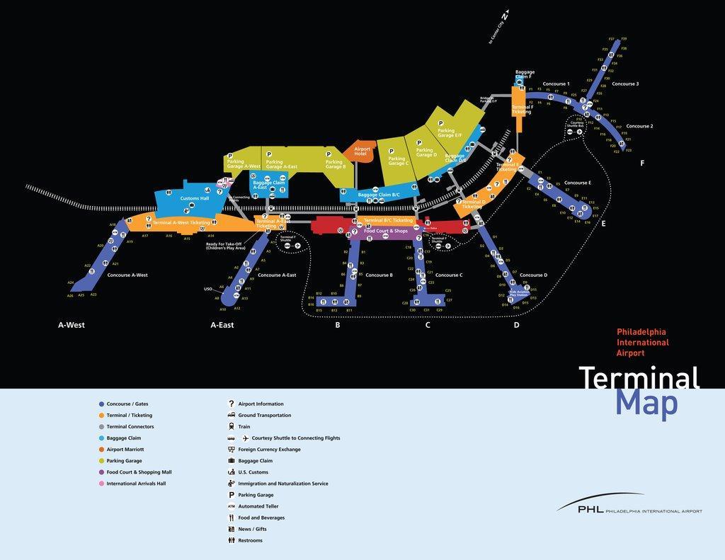Philadelphia Airport Parken Map Philadelphia Airport Economy